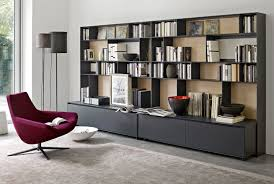 Modular Bookcase Systems Modular Bookcase Contemporary Lacquered Wood Aluminum Flat