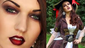 pirate halloween look makeup hair costume youtube