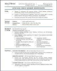 example summary for resume of entry level resume for entry level it position free resume example and oracle database administrator sample resume