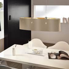 Fabric Pendant Light by Eglo 31613 Maserlo Oval Taupe And Gold Fabric Pendant Light