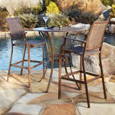 Bar Height Patio Chair Brown Coated Iron Garden Chair With Wicker Seating And Ornate Arms