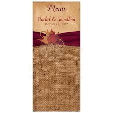 rustic ribbon rustic wedding menu card autumn leaves faux burlap printed