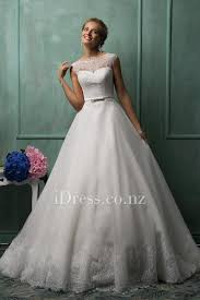 wedding dress nz white lace illusion cap sleeve boat neck gown wedding dress