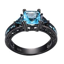 black and blue wedding rings size 5 11 classical jewelry princess cut light blue wedding ring