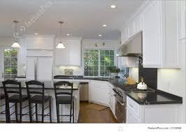 interior architecture newly remodeled white kitchen stock photo
