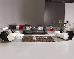 All Leather Sofa Modern Black And White Leather Sofa Set 44l3088