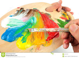 color mixing on pallet stock image image 22167841