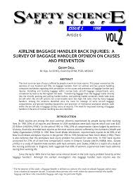 airline baggage handler back injuries a survey of baggage handler