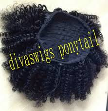 Hair Extension Clips by Short Afro Puff Curly Ponytail Hair Extension Clip In Remy