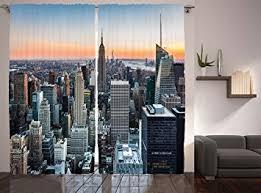 Manhattan Curtains Modern Curtains World Decor By Ambesonne New York