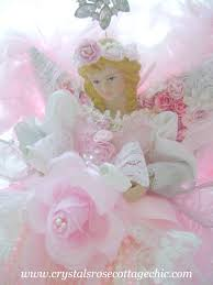 shabby pink chic romantic rose christmas angel tree topper craft