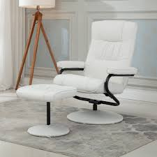 White Armchair With Ottoman Amazon Com Belleze Premium Leather Recliner And Ottoman Set