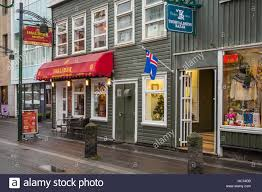 Capital City Awning A Street In The Capital City Of Reykjavik Iceland Europe Stock