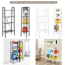 Walnut Ladder Bookcase Ladder 4 Tier Bookcase Storage Rack Display Stand Shelf Small Big