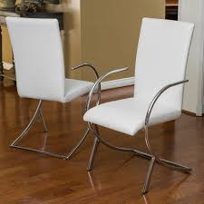 Leather And Chrome Chairs Lydia Off White Leather Chrome Chairs Set Of 2 By Christopher