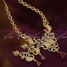 gold stone necklace sets images Nl6833 gold finish cz white ruby peacock sparkling stones JPG
