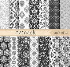grey wrapping paper damask digital paper black and white pattern background vintage