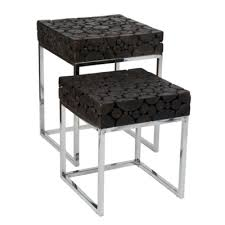 Black Table Ls Ls Serengeti Wood Block Set Of 2 Side Tables With Stainless