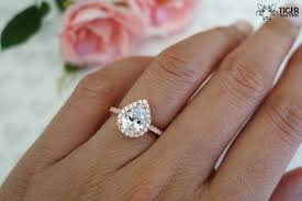 gold and silver engagement rings 1 5 carat pear cut halo engagement ring flawless made