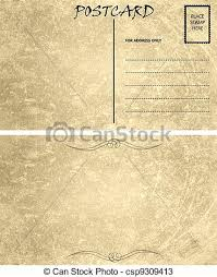 vintage empty blank postcard template front and back drawings