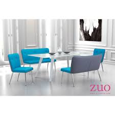 Faux Leather Dining Chairs With Chrome Legs Zuo Modern 100239 Hope Dining Chair In Blue Fabric W Gray