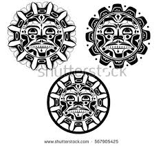 set polynesian styled masks vector stock vector 299732492