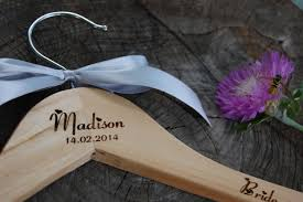 personalized wedding hangers 11 personalized bridal hanger engraved wood by weddinghangersname