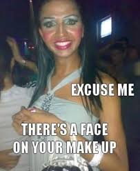 a fake tan and white makeup is never a good bination source
