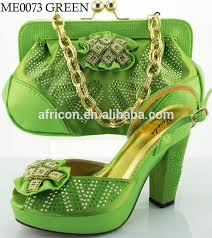 green latest design italian shoes and bag set leather high heel