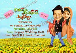 dilwale dulhania le jayenge theme caricature wedding save the date