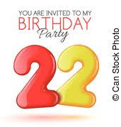 clipart of all for the good 22 birthday a big red 22 between
