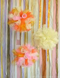 deco mesh ideas party ideas by mardi gras outlet diy party puffs topiary with