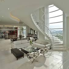 beautiful elegant two story house with black and white interior color