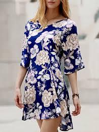 country style 3 4 sleeve v neck flower pattern mini dress for