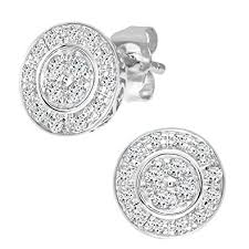 diamond earrings uk naava 9 ct white gold women s diamond earrings co uk