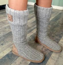 sweater boots secret pink gray sweater sock slippers boots m sz 7 8