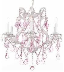 Chandelier Pink White Wrought Iron Chandelier With Pink Intended For