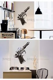 aliexpress com buy gun art wall sticker mechanical gun quote n741 02