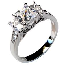 promise rings white images Princess cut promise ring with 5 diamond white cubic zirconia jpg