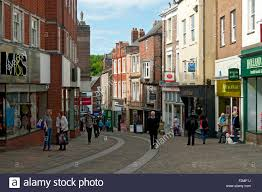 shops in silver street durham city england uk stock photo