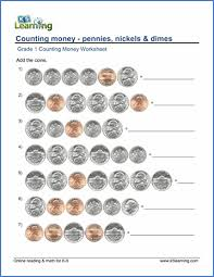 grade 1 counting money worksheet on pennies nickels and dimes