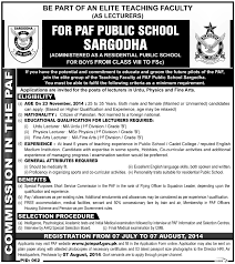 lecturer jobs in paf public sargodha 2014 ads of news paper