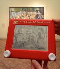 impressive etch a sketch of georges seurat u0027s iconic pointillist