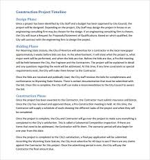 sample construction timeline 5 documents in pdf psd