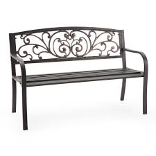 Outdoor Garden Bench Mixed Material Benches Metal U0026 Wood Backyard U0026 Garden Hayneedle