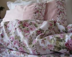 Roses Duvet Cover Shabby Chic Bedding Red Green Pink Roses Floral Print