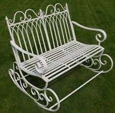 Aluminium Garden Chairs Uk Victorian Style Metal Garden Rocking Chair In A Shabby Chic Finish