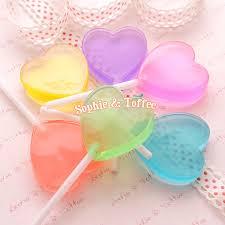 heart lollipop heart candy lollipops decoration clear 35mm 6 pieces