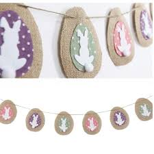 rabbit banner 12 14cm rustic linen bunny easter bunting with cotton tails rabbit