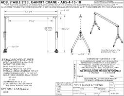 vestil ahs 4 15 10 steel adjustable gantry crane 4000 lb